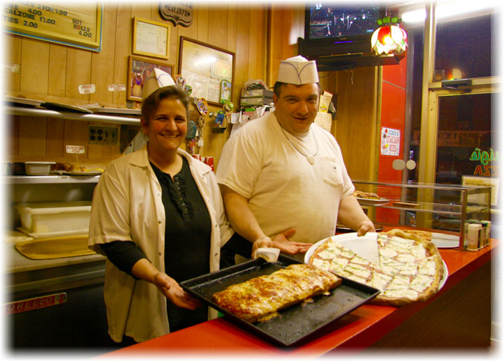 Welcome! Come on by and try our fresh mozzarella slice!